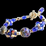 Cobalt Blue and Gold Foil Lampwork Swarovski Crystal Bracelet