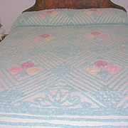 Vintage Plush Cotton Chenille Bed Spread with Pastel Flowers-Double/Full