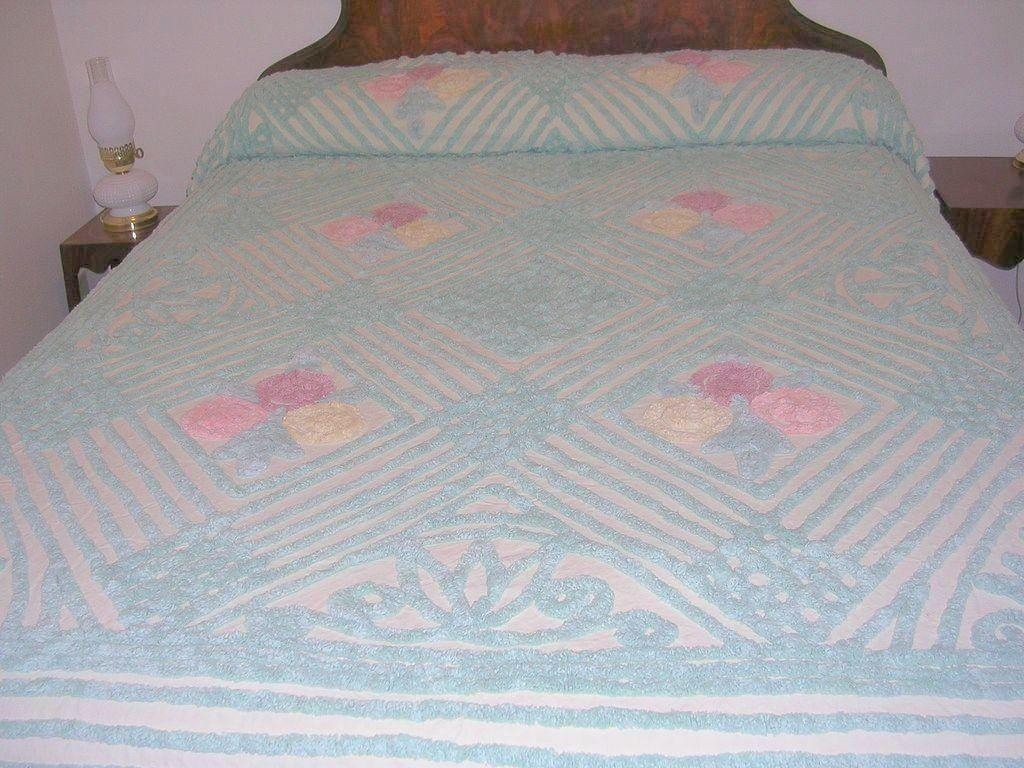 Vintage Plush Cotton Chenille Bed Spread With Pastel