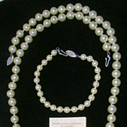 Lustrous Estate Mallorca Imitation Pearl Necklace and Bracelet