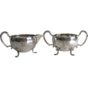 Mid Century Sterling Silver Creamer and Sugar Hunt Silver Co.