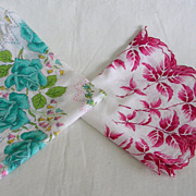 Vintage Cotton Handkerchief Hanky Pair