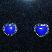 Darling Heart Shaped Sterling Silver and Lapis Blue Stone Earrings