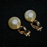 Classy Napier Faux Pearl Clip On Earrings