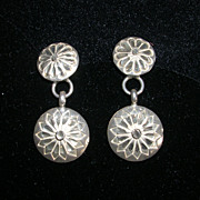 Sterling Silver Diamond Cut Disc Earrings