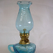 Aqua Blue Miniature Oil/Kerosene Lamp Made in Hong Kong