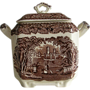 Mason's England Brown Transferware Vista Sugar Bowl