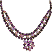 Vintage 1950's Astra Amethyst Rhinestone and Faux Opal Bib Necklace
