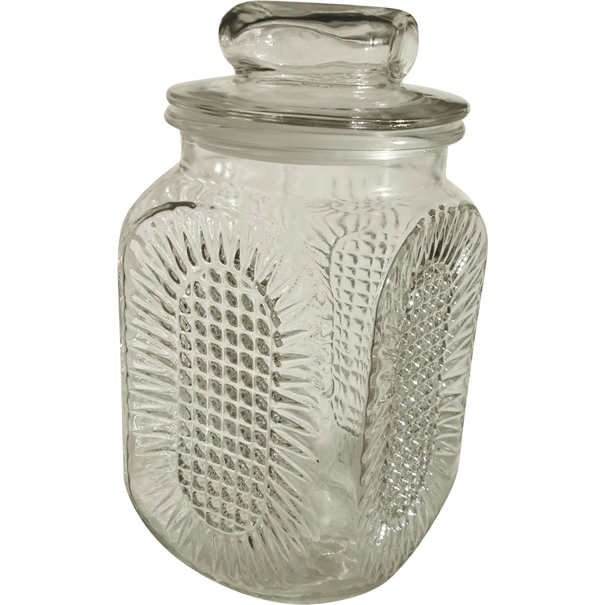 anchor hocking clear glass waffle sunburst canister jar with