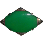 German Art Deco Sterling Chrysoprase and Marcasite Signed Wachenheimer Brooch Pin