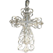 Ornate Sterling Silver Diamond Cut Cross Pendant