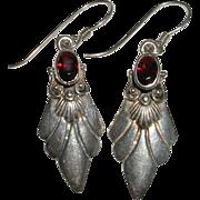 Sterling Silver and Garnet Gemstone Dangle Earrings