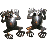 Sterling Silver Frog Earrings Onyx Eyes