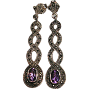 Vintage Sterling Silver Amethyst and Marcasite Earrings