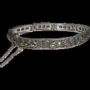 Sterling Silver Multi Gemstone and Marcasite Link Bracelet