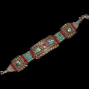 Southwestern Arts & Crafts Mixed Metal Beaded Bracelet