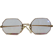 1960's Era Octagonal Gold Filled Eyeglasses & Case France England