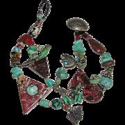 Southwestern Design Arts & Crafts Turquoise Agate Jasper Nickel Charm Fetish Bracelet