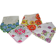 4 Colorful Vintage Floral Pansy Rose Wildflower Hankies - Red Tag Sale Item