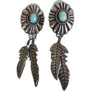 Southwestern Design Concho Sterling Silver Feather and Turquoise Earrings