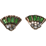 1940's Fan Design 10 KT  Gold Filled Watermelon Green Rhinestone Earrings Signed