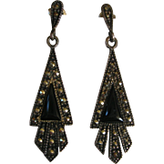 Art Deco Revival Sterling Silver Onyx and Marcasite Earrings