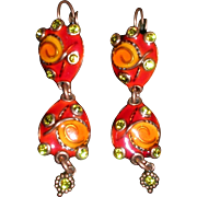 TaraTaTa France Whimsical Enamel and Rhinestone Copper Dangle Pierced Earrings