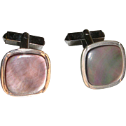 Classic Swank Mother of Pearl Silvertone Cuff Links