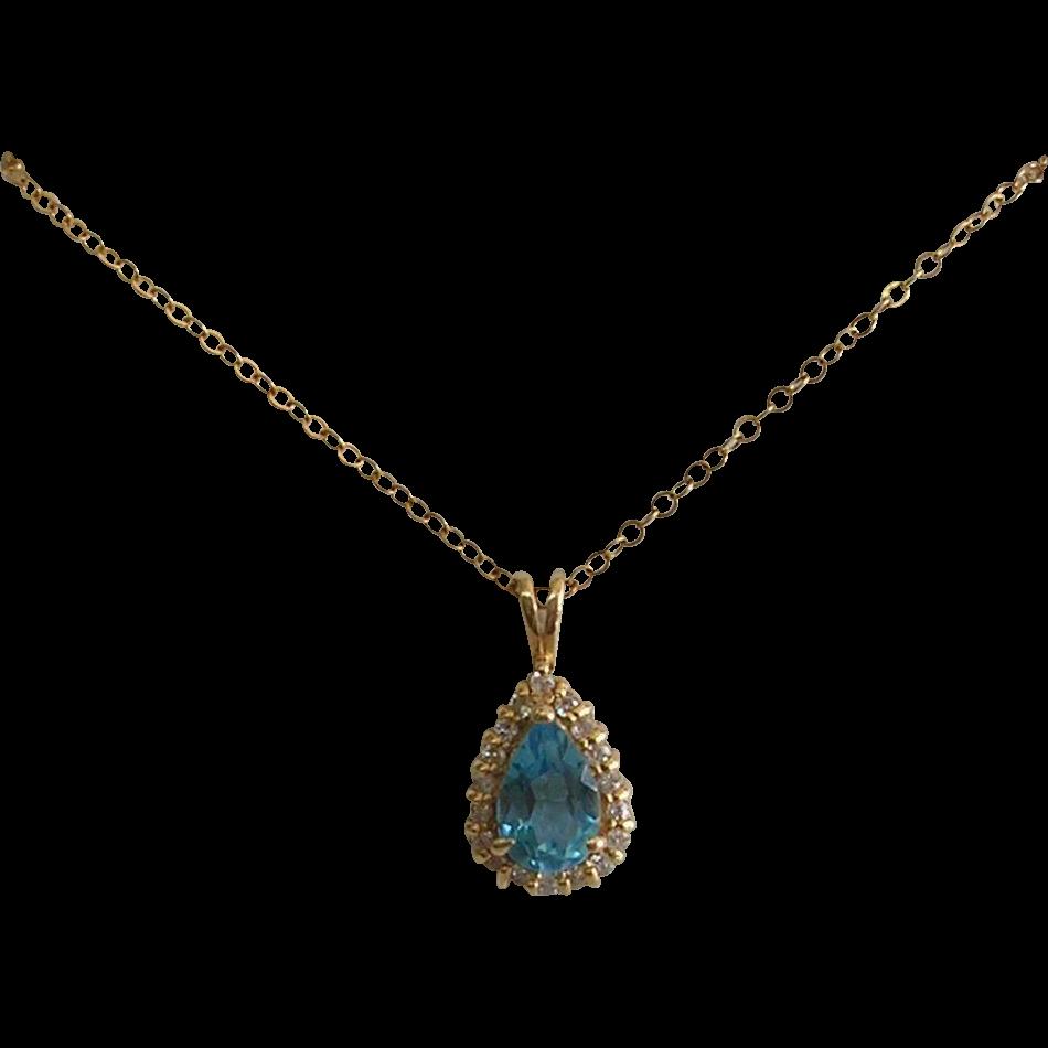 vintage 10kt gold blue topaz necklace from