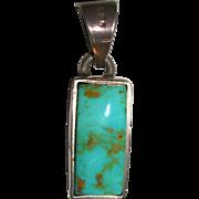 Vintage Turquoise Gemstone Pendant Set in Sterling Silver