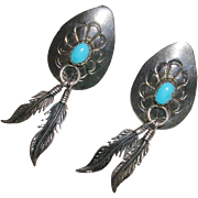 Southwestern Design Sterling Silver Concho and Feather Earrings