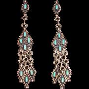 Vintage Zuni Petit Point Turquoise Sterling Silver Chandelier Earrings