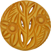 Butterscotch Bakelite Carved and Pierced Floral Pin Brooch