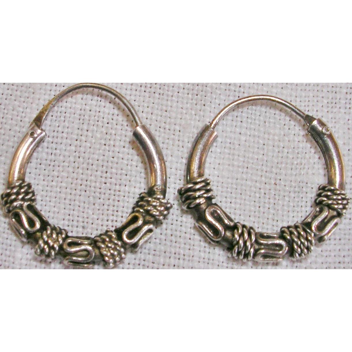 Sterling Silver Bali Style Hoop Earrings from ...