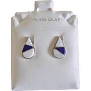 Handcrafted Zuni Petite Teardrop Stud Earrings Lapis and Mother of Pearl