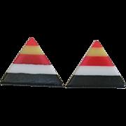 Fun Mid Century Laminated Bakelite Triangle Earrings