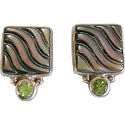 Designer Janice Girardi Sterling Silver Peridot and Carved Abalone Earrings