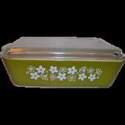 Pyrex Spring Blossom Crazy Daisy Green Refrigerator Covered Dish Casserole 1 1/2 Qt