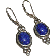 Blue and Sterling Silver Lever Back Earrings