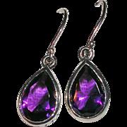 Sterling Silver Pear Shaped Amethyst Earrings