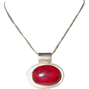 "Vintage Red Jasper Sterling Silver Necklace Mexico 20"" Italian Box Chain"
