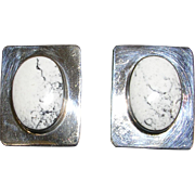 Signed Taxco Sterling Silver and Natural White Howlite Earrings