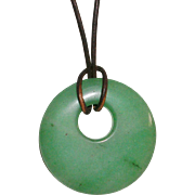 Transluscent Green Aventurine PI Disc Necklace