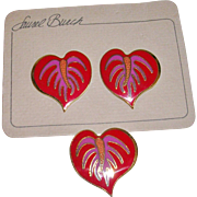 Laurel Burch Suite Anthurium Earrings and Brooch 1980's