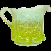 Mosser Glass Cherry Thumbprint Vaseline Opal Glass Creamer