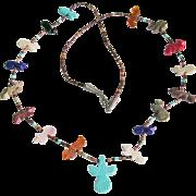 "Native American Handmade Animal Fetish Heishi Necklace 30"""