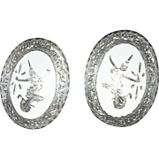 Sterling Silver and White Enamel Clip Earrings Siam 1960's