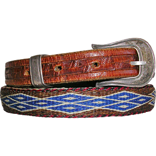 Fine Leather and Horse Hair Belt with Signed Sterling Chacon Buckle