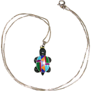 "Native American Sterling Silver Gemstone Inlay Lucky Turtle 18"" Box Chain"