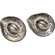 Sterling Silver Cowboy Sombrero Hat Screw Back Earrings